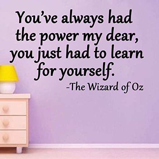 Amazon.com: Youu0027ve Always Had The Power My Dear, You Just Had To Learn For  Yourself Wizard Of Oz Quote (20x26, Black): Home U0026 Kitchen