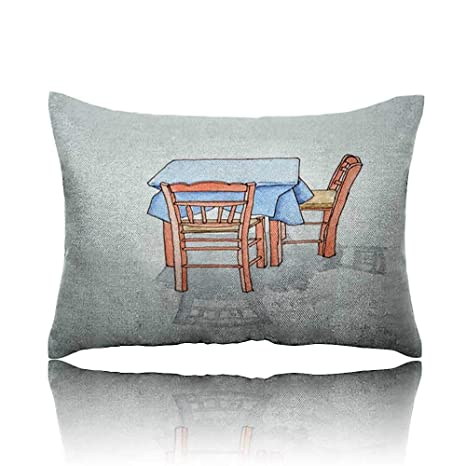 Wondrous Amazon Com Neck Pillow Ink And Watercolour Of Table And Two Customarchery Wood Chair Design Ideas Customarcherynet
