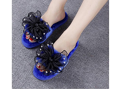 Beauqueen Femmes D'hiver Et D'automne Gardez Accueil chaleureux Strass Bow Tie Peluche antidérapante talon plat chaussons , blue diamond knot shakespeare plush word drag , 38