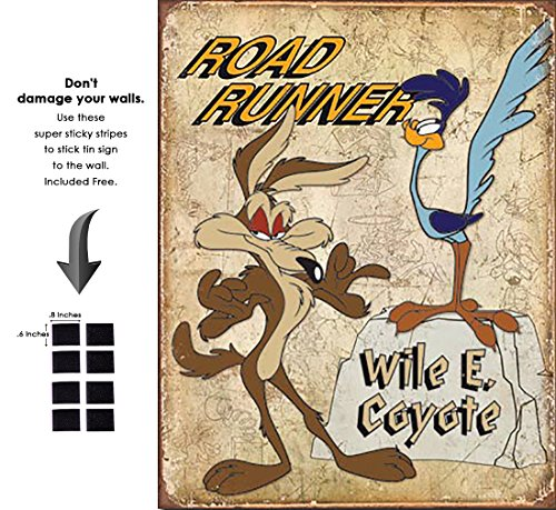 Shop72 Retro Vintage Road Runner & Wyle E Coyote Cartoon Character Tin Signs - with Sticky Stripes No Damage to Walls ()