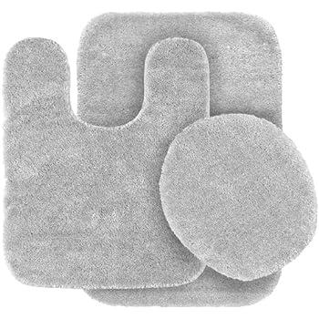 Garland Rug 3 Piece Traditional Nylon Washable Bathroom Rug Set, Platinum  Gray