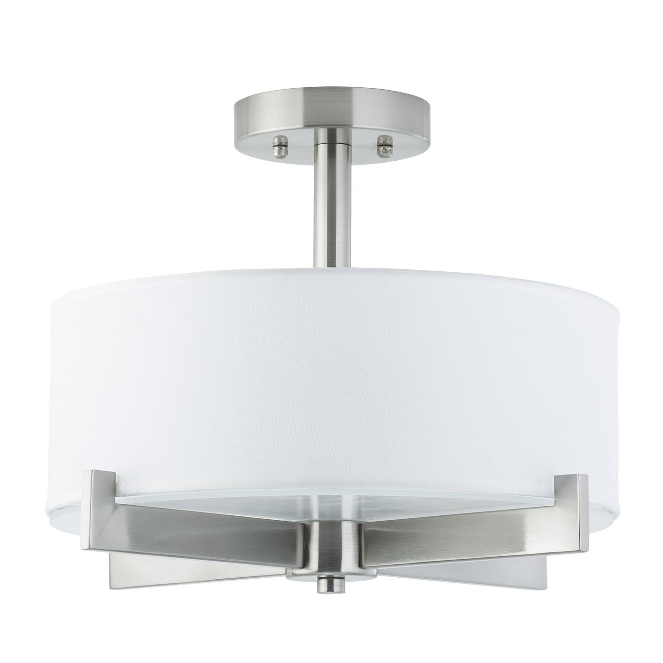 Allegro Semi Flush Mount Ceiling Light - Brushed Nickel - Fabric Shade - Linea di Liara LL-C132-BN by Linea di Liara