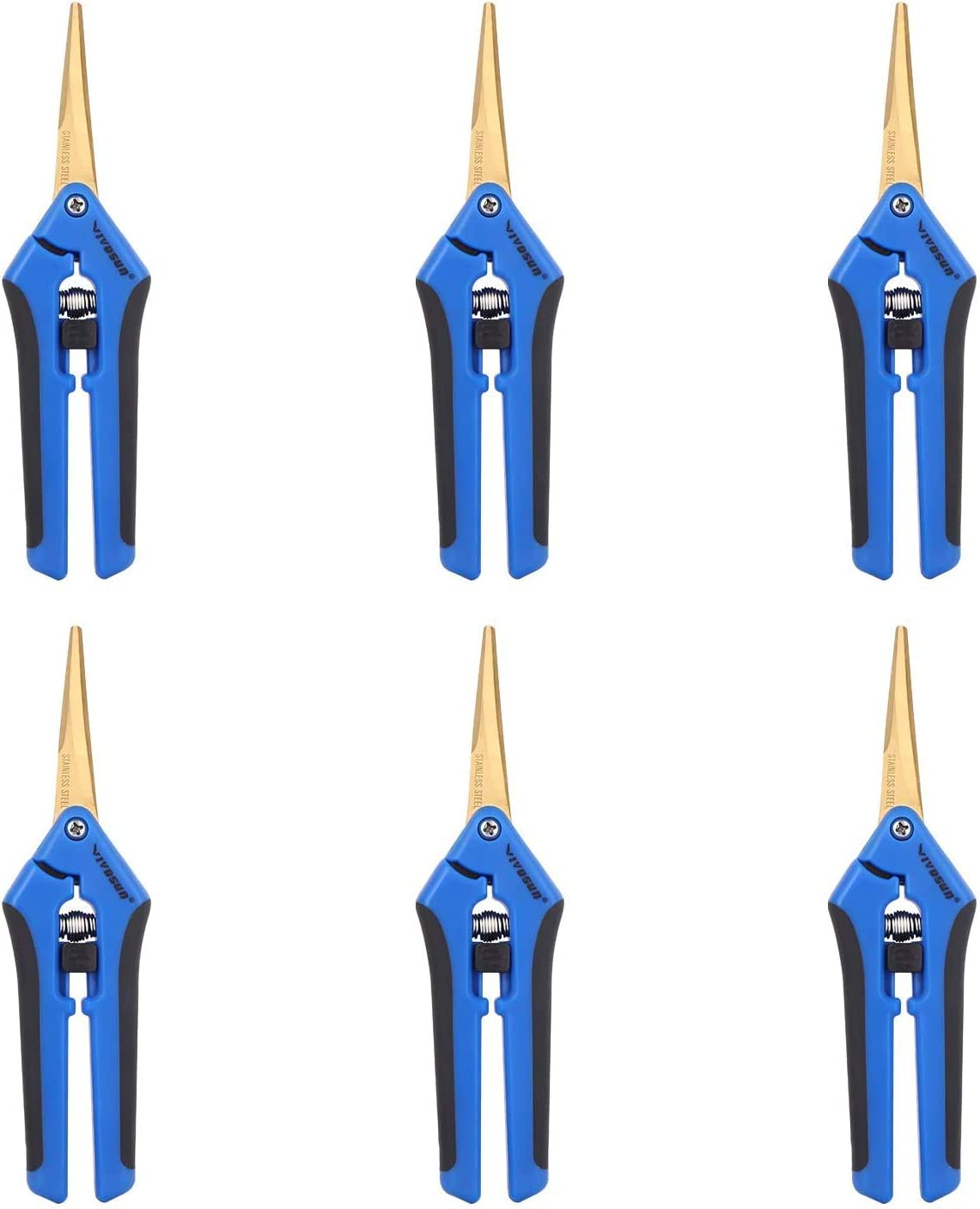 VIVOSUN 6 Pack Gardening Hand Pruner Pruning Shear with Titanium Coated Curved Precision Blades, Blue