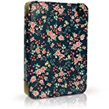 iGadgitz 'Designer Collection' Pink Rose Floral Pattern PU Leather Folio Case Cover for Kobo Touch 2, Kobo Glo HD 2015, Kobo Aura & Kobo Aura Edition 2 with Hand Strap & Viewing Stand