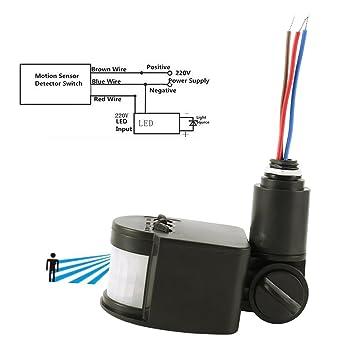 Sensor Movimiento Infrarrojos crepuscular integrado exterior detector movimiento Sensor presencia Interruptor, Negro , 1