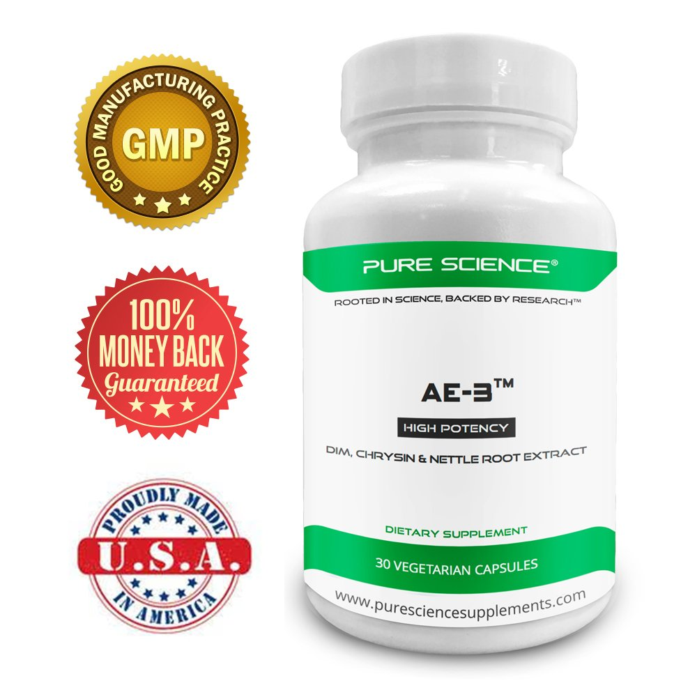 Pure Science AE-3 Chrysin con DIM y extracto de raíz de ortiga más 8mg de BioPerine (potenciador de la biodisponibilidad natural para una mejor absorción) ...