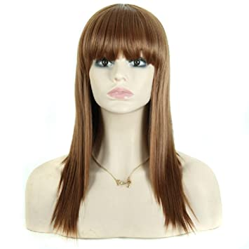 Meylee Pelucas Larga peluca recta hembra con aseado flequillo cabello castaño completo pelucas Cosplay/partido