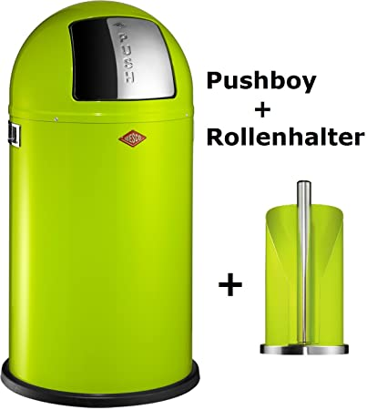 Wesco 175831-20 Pushboy 50-Liter Mülleimer & Küchenrollenhalter im Set, limegreen