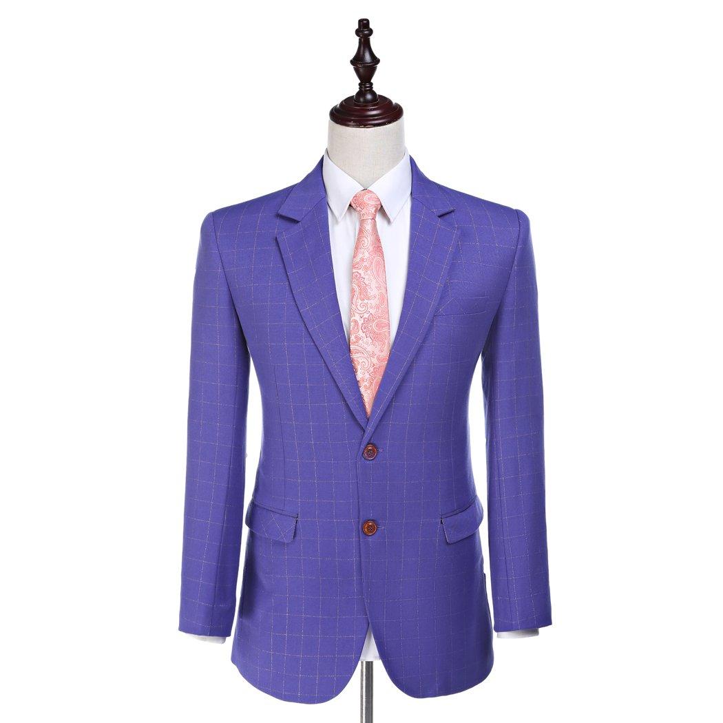 Amazon.com: Slim Fit hombre trajes ajedrez de color morado ...