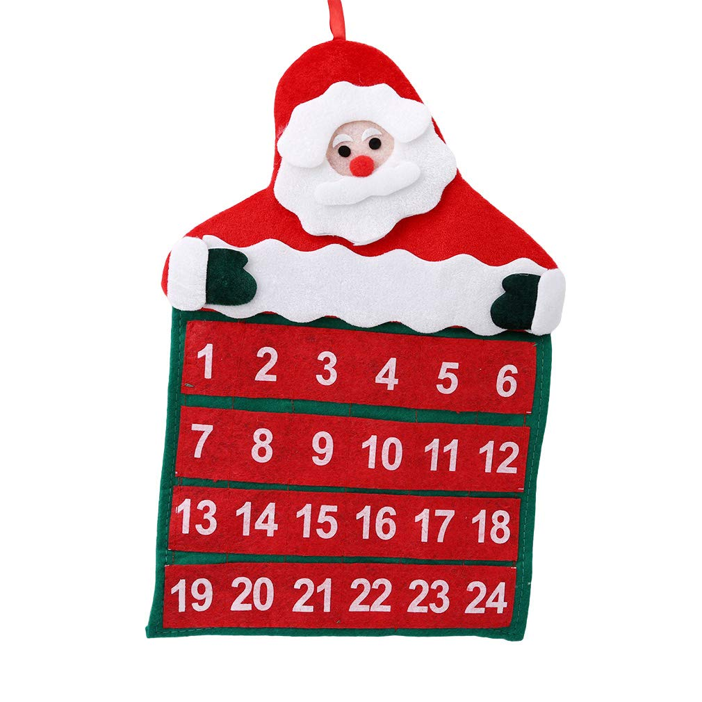 YESMAEay Weihnachten Adventskalender Countdown Weihnachtsmann Stoff ...