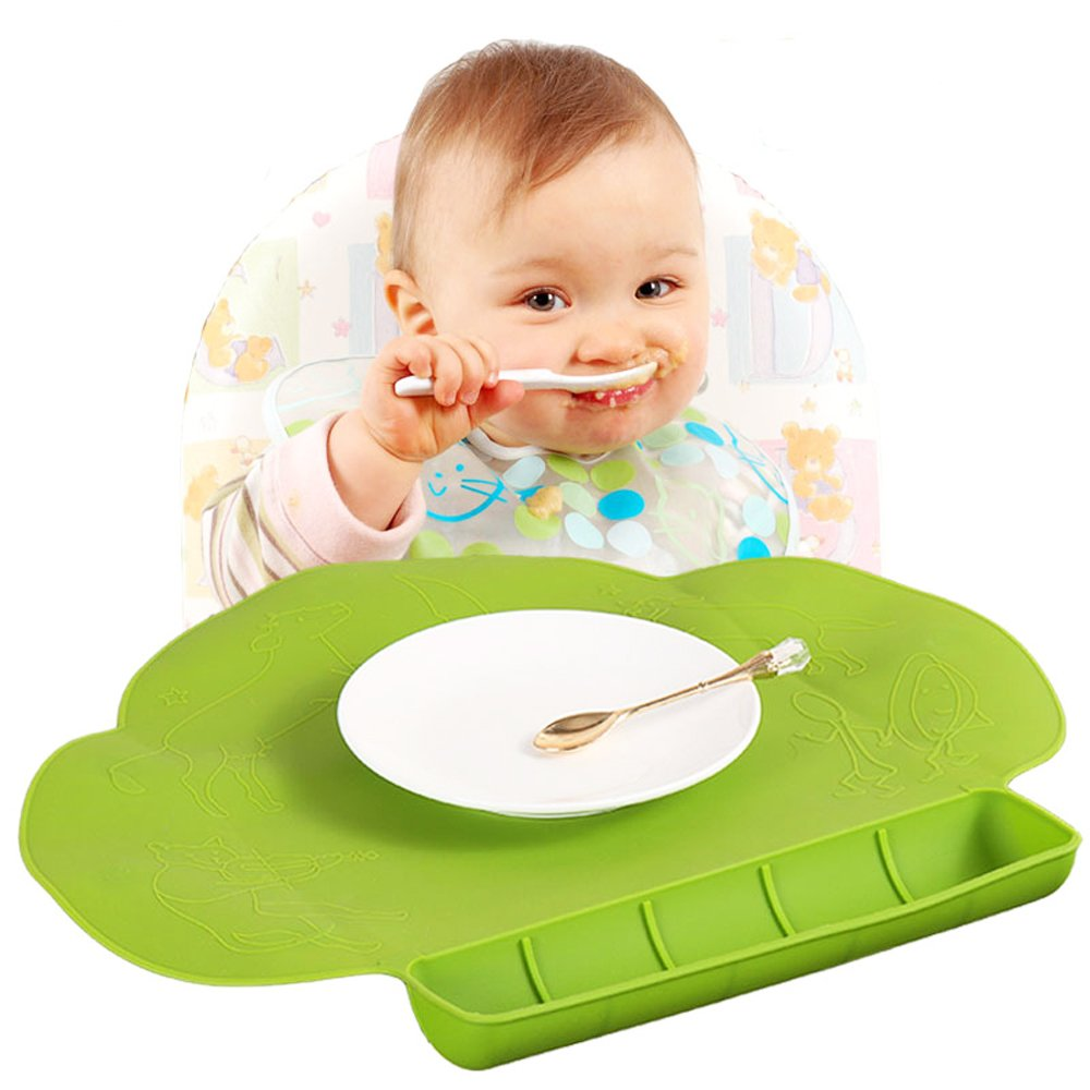 Silicone Baby Placemat - Food Grade Silicone Reusable Travel Placemat for Kids Tiny Diner Portable Roll Up Non Slip Washable Restaurant Food Mat for Child JapanAmStore