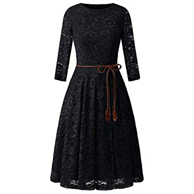5f1b4246e52e Women Vintage Dress with Belt Sexy Retro Lace Half Sleeve O Neck Solid  Summer A-