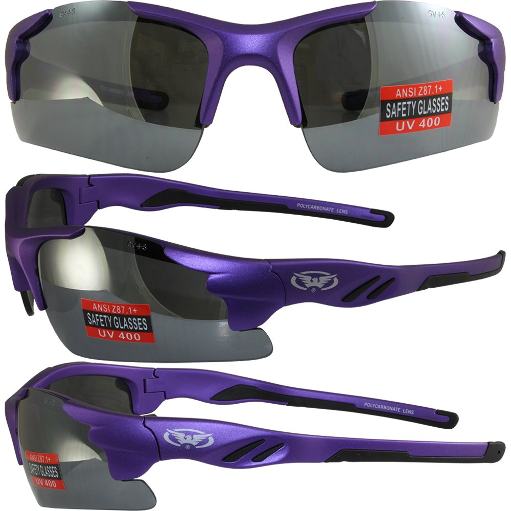 Global Vision Metro Safety Sunglasses Matte Metallic Purple Frames Flash Mirror Lenses ANSI Z87.1+