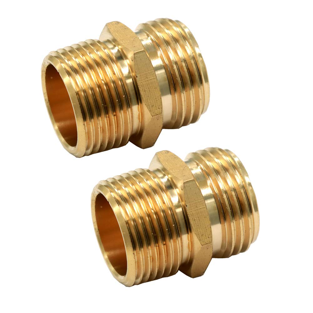 "GESHATEN 3/4"" GHT Male x 3/4"" NPT Male Connector, Brass Garden Hose Fitting, Adapter, Industrial Metal Brass Garden Hose to Pipe Fittings Connect (2 Pack)"