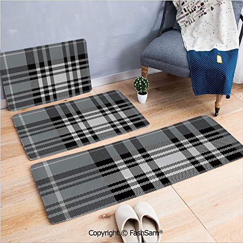 3 Piece Non Slip Flannel Door Mat Old Fashioned Plaid Tartan in Dark Colors Classic English Tile Symmetrical Indoor Carpet for Bath Kitchen(W15.7xL23.6 by W19.6xL31.5 by W31.4xL47.2)