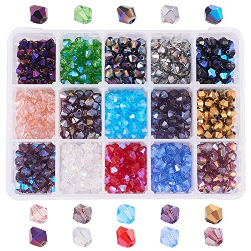 PH PandaHall 1 Box (about 750 pcs) 15 Color 6mm Faceted Bicone Glass Beads Assortment Lot for Jewelry Making