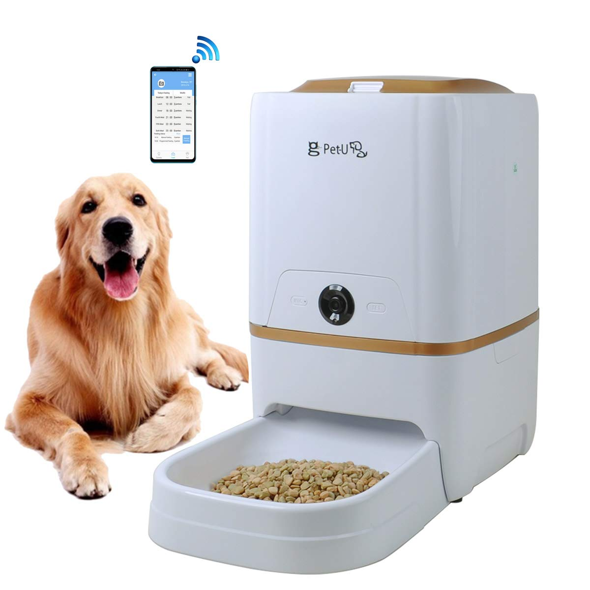 USDREAM WiFi Automatic Dog and Cat Feeder Electric Auto Pet Food Dispenser with Smart APP Wireless Remote Control, Two Way Video & Audio, HD 720P Camera & Timed Programmable, White with Gold