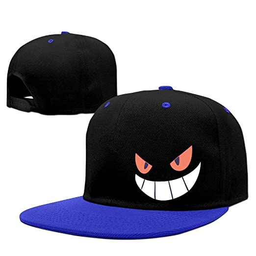 Amazon.com  Gengar Halloween Face Snapback Cap Flat Bill Hip-Hop Cap ... 3c82d55a0fe