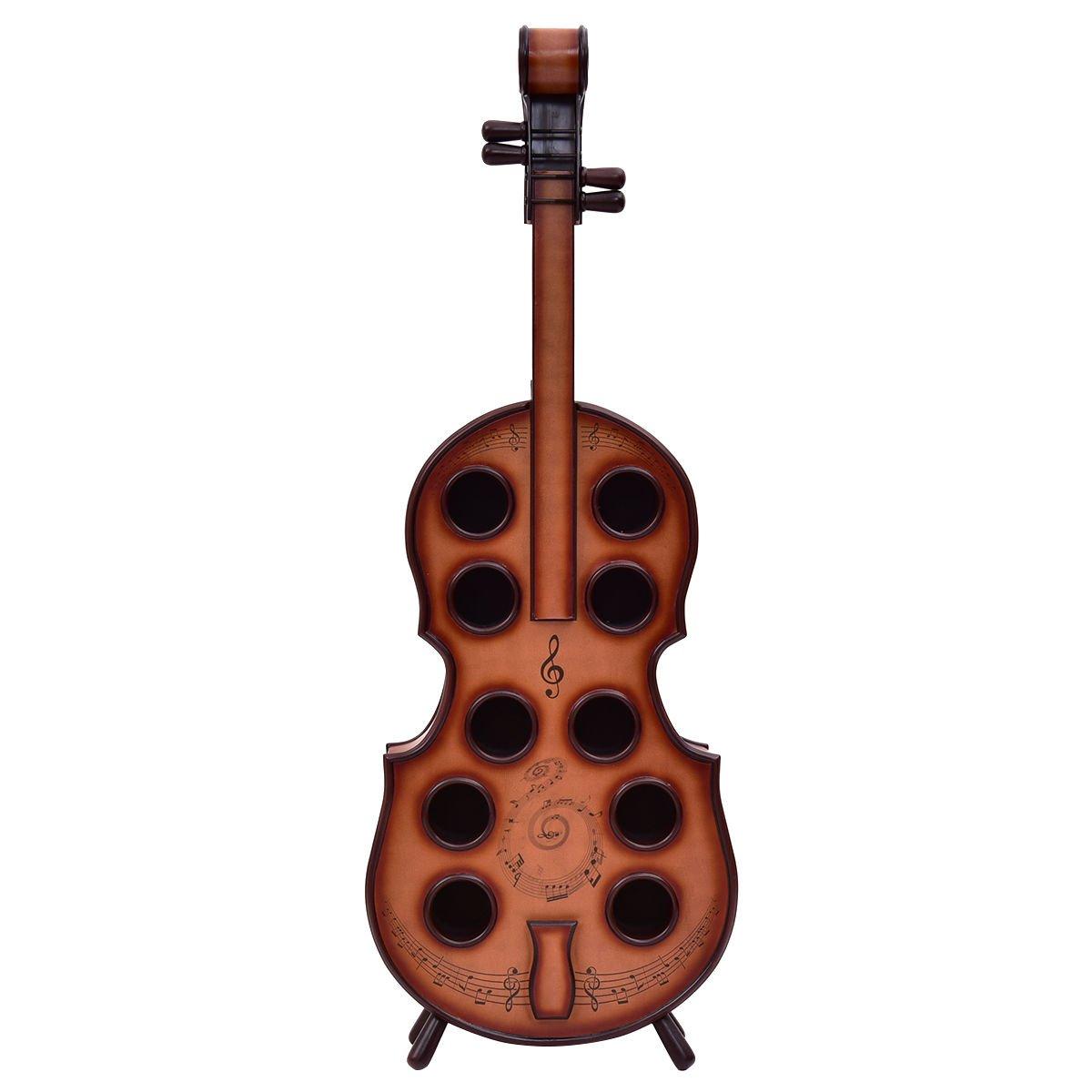 Wine Rack Violin Cello 10 Bottles Holder 16th Century Liquor Shelf Wood Eramaix