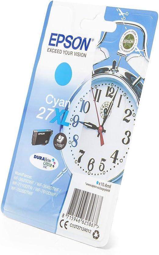 Original Epson C13t27124010 27xl Für Workforce Wf 7610 Dwf Premium Drucker Patrone Cyan 1100 Seiten 10 40 Ml Bürobedarf Schreibwaren