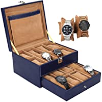 Leather World Blue PU Leather Designer Watches storage box for 16 watches   Watch Box   watch case   watch box for men