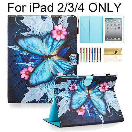 iPad Case, iPad 2/3/4 Case, Dteck(TM) PU Leather Stand Case Auto Sleep/Wake Function [Card Slot] Flip Protective Shell Magnetic Closure Wallet Cover for Apple iPad 2 3 4 - Blue Butterfly&Pink Flower