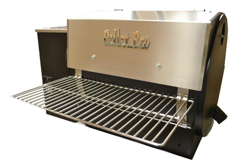 Pellet Pro 34'' x 12'' Stainless Steel Folding Front Pellet Grill Shelf for Traeger, Camp Chef, etc.