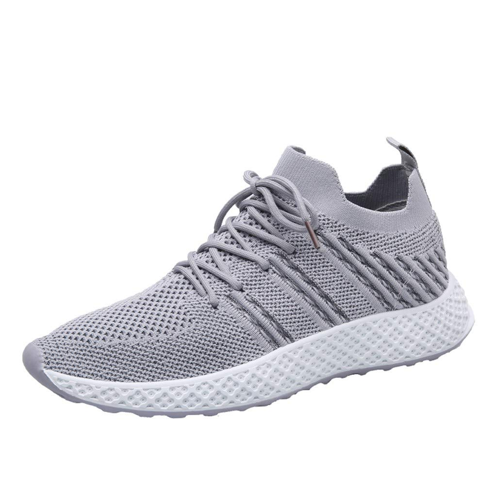 YKARITIANNA Men's Mesh Breathable Outdoor Sneakers Shoes Wear-Resistant Wild Travel Shoes Gray
