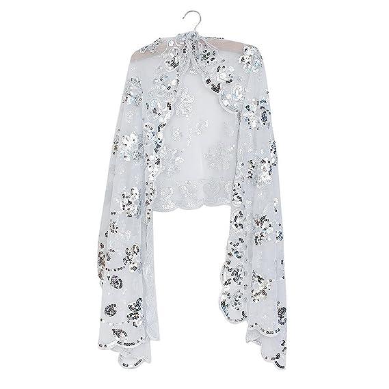 Chal mantón con decoracion de flores y lentejuelas para veladas y fiestas.