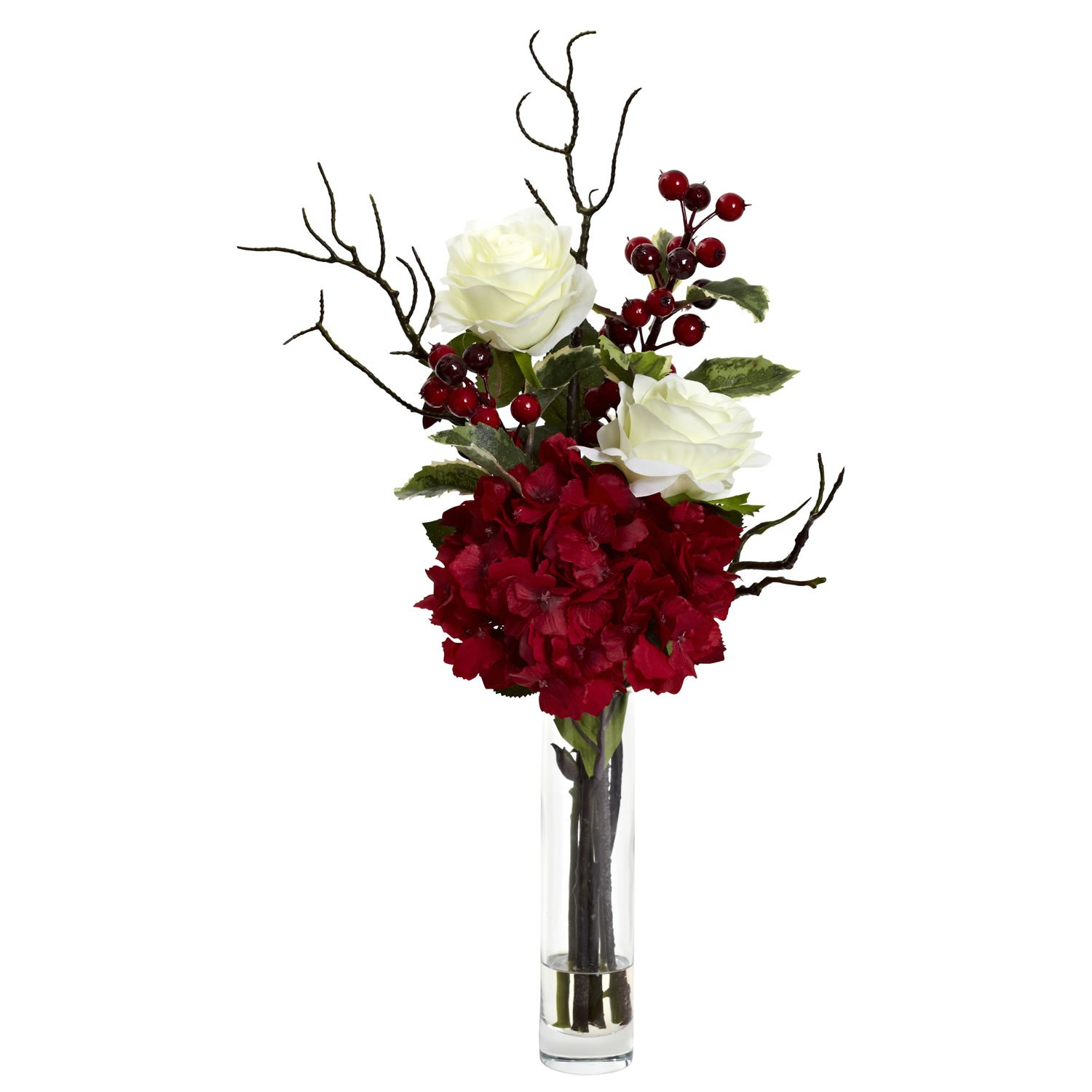Nearly Natural 1385 Merry Christmas Rose Hydrangea Arrangement Red