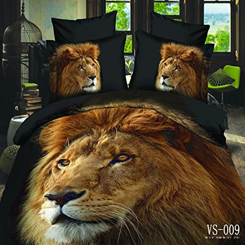 Lt Full Queen King Size 6-pieces 3d Christmas Gift Big Lion Head Animal Black Prints Duvet Cover Set/bed Linens/bed Sheet Sets/bedclothes/bedding Sets/bed Sets/bed Covers/ 7-pieces Comforter Sets/bed in a Bag (6pcs without comforter, King)