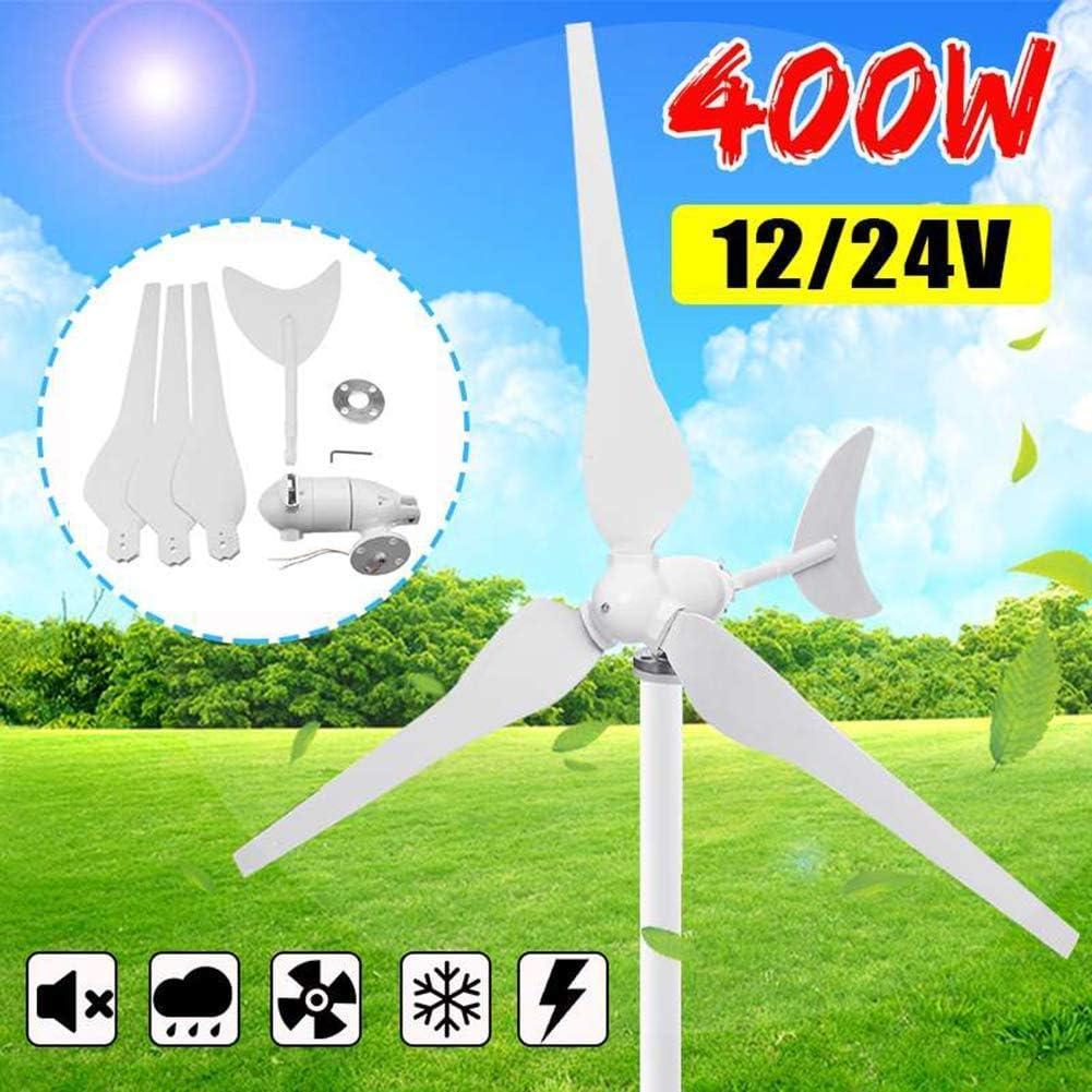 400W Las Turbinas De Viento, 12 / 24V De Eje Horizontal 3 Cuchillas 3 Fase Permanentmagnet Síncrono, para Iluminación del Hogar, para Barcos