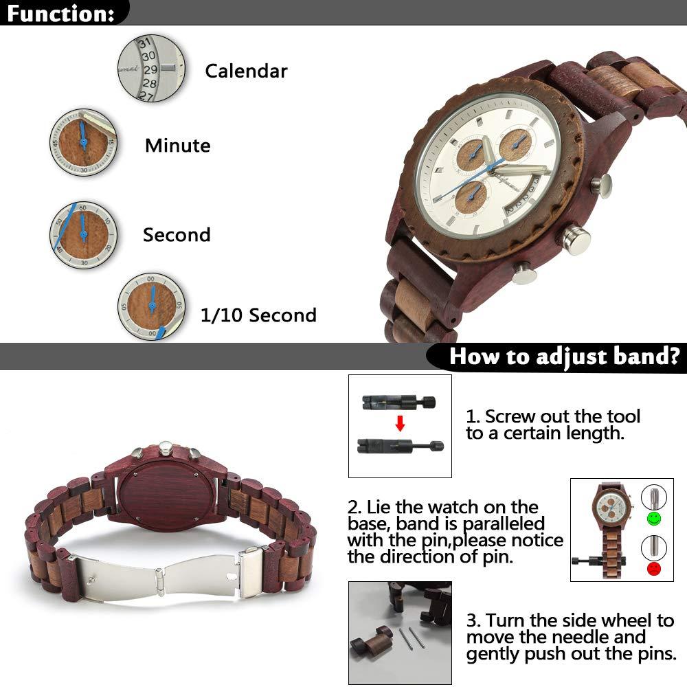 shifenmei S5568 träklockor, lätta träklockor datum stoppur kronograf med lysande händer Vinröd