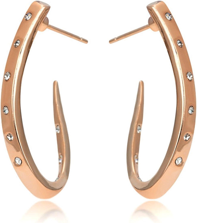 ZYE598 - Pendientes de tuerca de cristal de alta calidad, color oro rosa, joyería de cristal austriaco