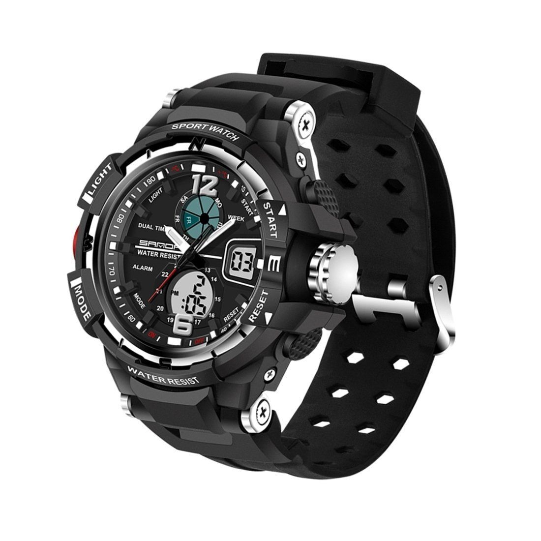 5319 Big Size LED Luminous Display & Stopwatch & Alarm & Date And Week Function Men Quartz + Digital Dual Movement Watch With Plastic Band (Color : Black) by Dig dog bone
