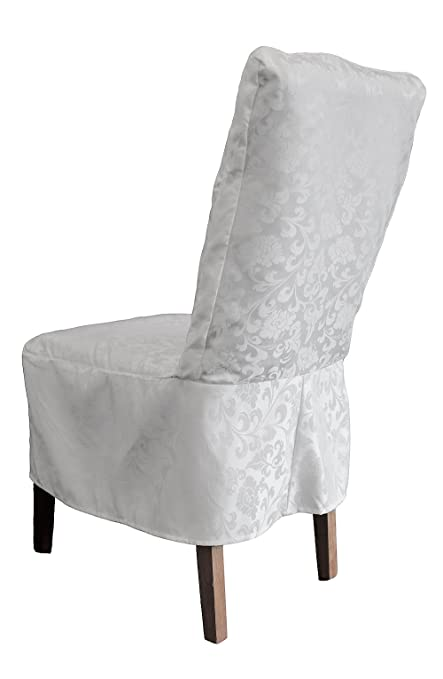 Strange White Short Damask Dining Chair Cover Rj13 Dining Chairs Living Room Squirreltailoven Fun Painted Chair Ideas Images Squirreltailovenorg