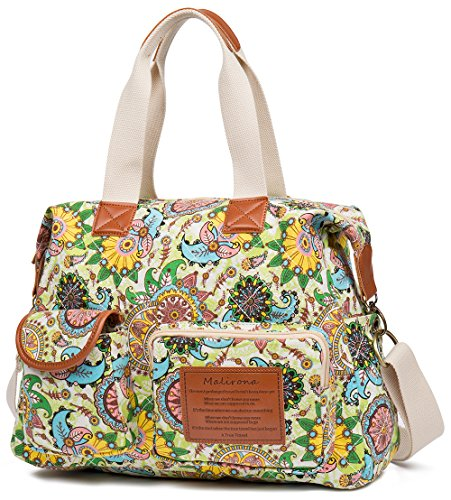 Flower Satchel Handbags (Malirona Canvas Shoulder Bag Travel Handbag Women Top Handle Satchel Crossbody Purse Floral Design)