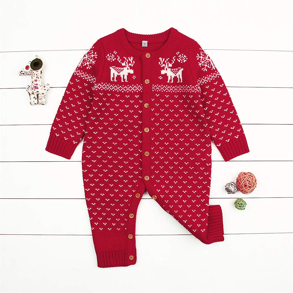 BJHAP Baby Sweater Romper Christmas Unisex Cardigan Overall Long Sleeve Clothes