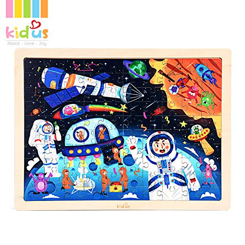 Wooden Kids Puzzles 100 Piece Space Puzzles Preschool Educational Learning Toys for Toddlers (Space Puzzle)