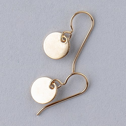 Round Circle Disc dangle drop Earrings in 14K Yellow Gold - Drop Disc Round