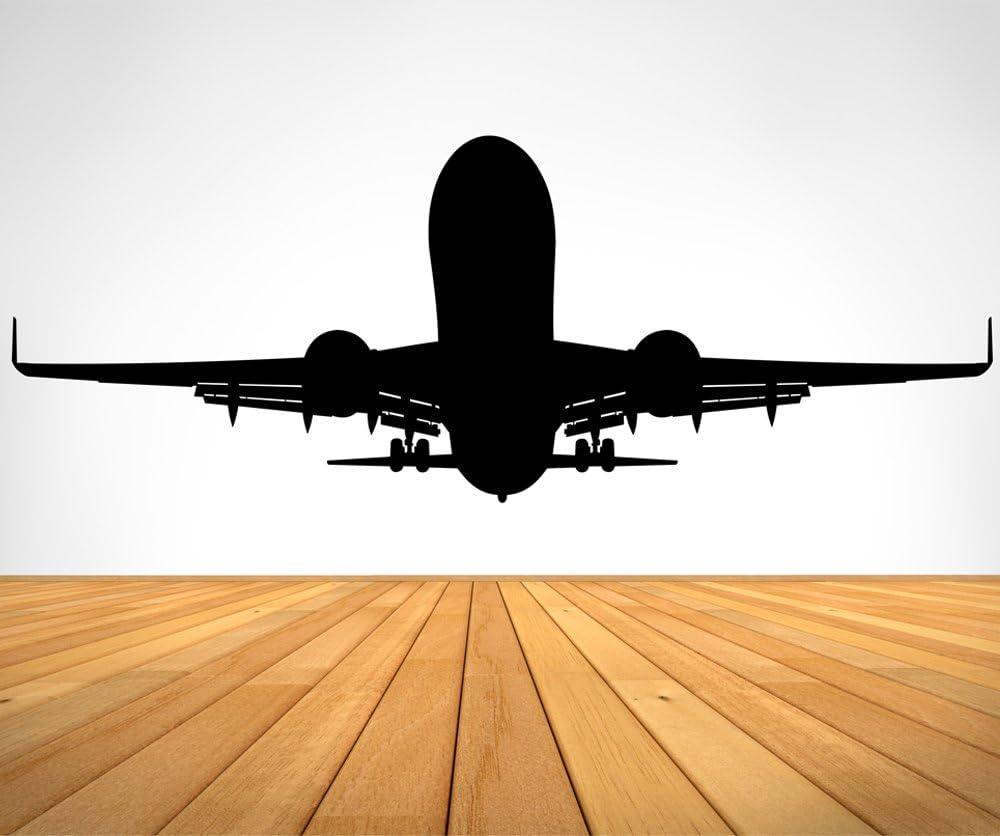 Stickerbrand Avión de aviación despegando pegatina de pared Negro: Amazon.es: Hogar