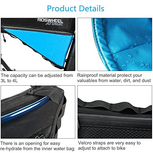 allnice Bike Frame Bag 3-4L Frame Pouch Waterproof Bike Storage Bag Mountain Road MTB Bicycle Triangle Bag Strap-on Bicycle Pouch by allnice (Image #2)