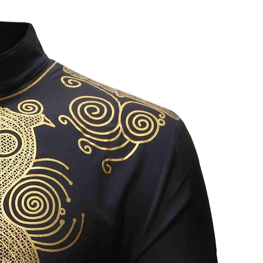 Pervobs Mens Spring Summer Luxury African Print Long Sleeve T-Shirt Soft Pants Suits for Daily Wear Regular Fit