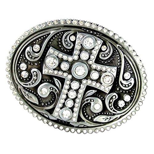 Crystal Cross Buckle Belt - MonkeyJack 3D Cross Pattern Metal Belt Buckle Crystal Rhinestone Western Cowboy Cowgirl