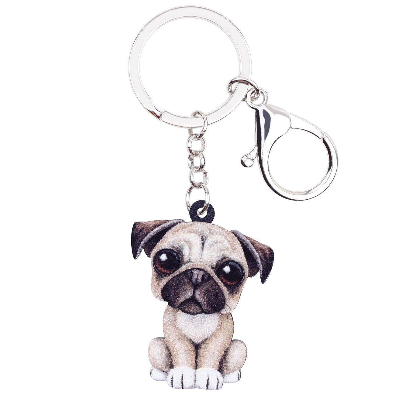 BONSNY Patterned Acrylic French Bulldog Pug Dog Keychains For Women Kids Car Key Rings Charms