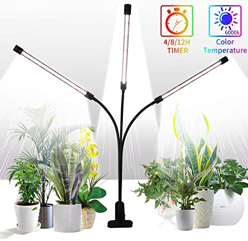 Grow Light for Indoor Plants,GHodec Tri-Head 75W 126LED Plant Lights for Small Plants,360 Gooseneck Timer Setting 4 8 12H,5 Dimmable Levels