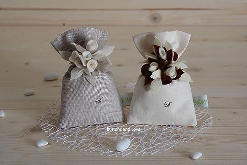Bomboniere Matrimonio Ricamate.Un Pezzo Sacchetto Portaconfetti In Cotone Con Roselline Ideale