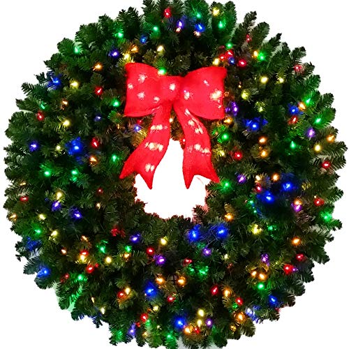 4 Foot Multi-Color L.E.D. Christmas Wreath with Pre-lit Red Bow - 48 inch - 200 LED Lights - Indoor - Outdoor (Pre Outdoor Lit Wreath 48)