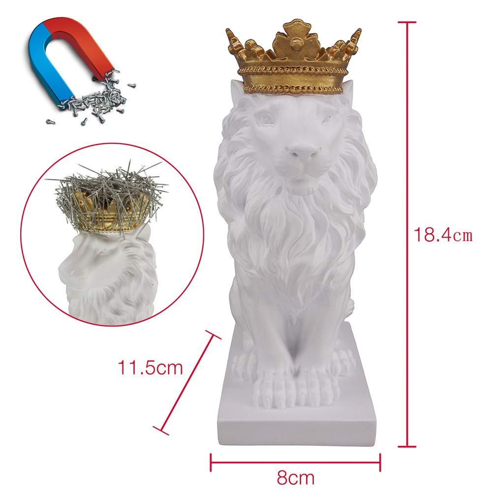 Artgenius 7.3IN Royal King Crown Lion Statue Magnetic Paper Clip Dispener,Paper Clip Holder,Office Desk Accessory with Magnet (White) by Artgenius