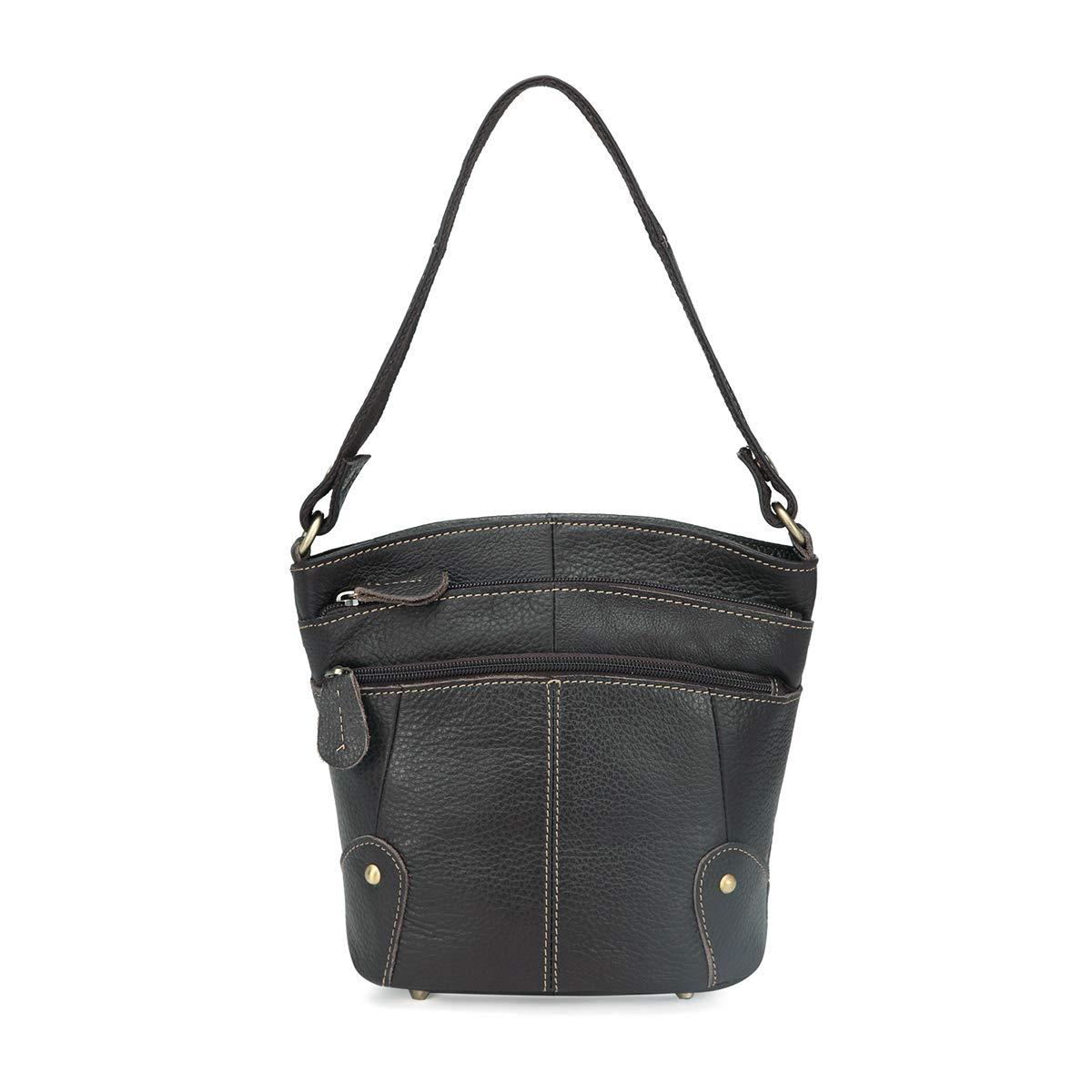 Crossbody Bag for Women Leather Top Handle Tote Purses Ladies Satchels Handbag (Coffee)